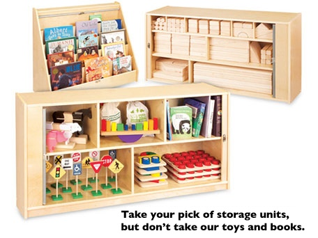 woot 99 guidecraft hideaway children 39 s storage units for books or toys bargains to bounty. Black Bedroom Furniture Sets. Home Design Ideas