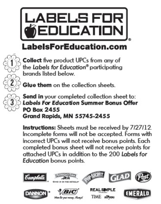labels for education 200 point summer bonus sheet bargains to bounty