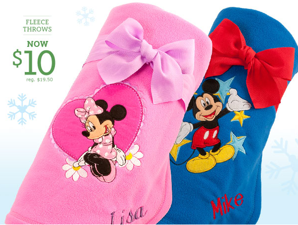 The Disney Store if offering an unbelievable sale again this year on it's custom fleece throws. Now through Sunday 11/21, get a 50 x 60 personalized fleece throw for just $12 shipped!!! Just use promo code FLEECE at checkout. Choose from characters like- Toy Story, Tinkerbell, Cars, Cinderella and so .