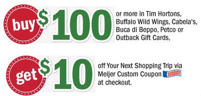 Meijer: Buy $100 in Cabela's or Buffalo Wild Wings gift cards, get ...