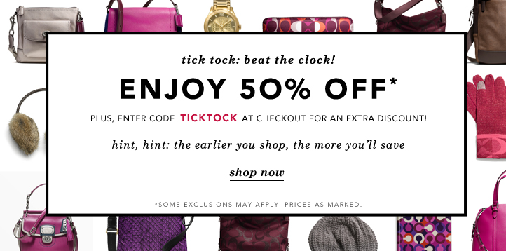 Coach Factory Sale 50 off free shipping through noon