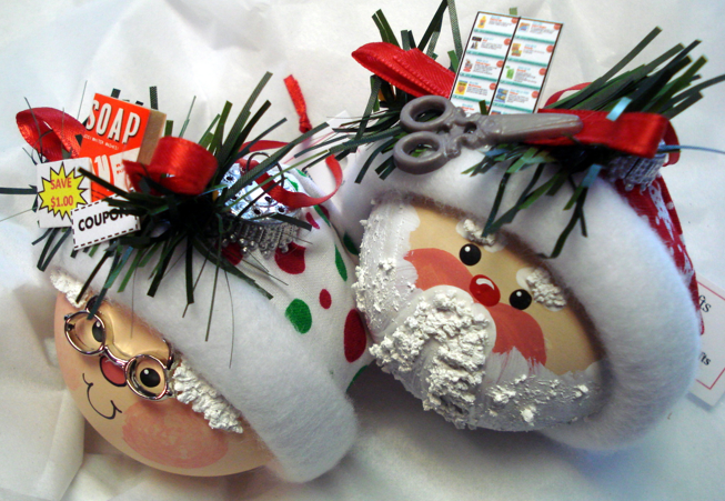 mr and mrs claus coupon ornaments