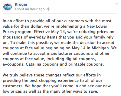 kroger ends double coupons