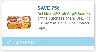 graphic regarding Del Monte Printable Coupons named $0.75 Del Monte Fruit Cups printable coupon \u003d $0.75 each individual at