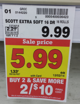 Kroger Stock Up Price On Scott Extra Soft Toilet Paper