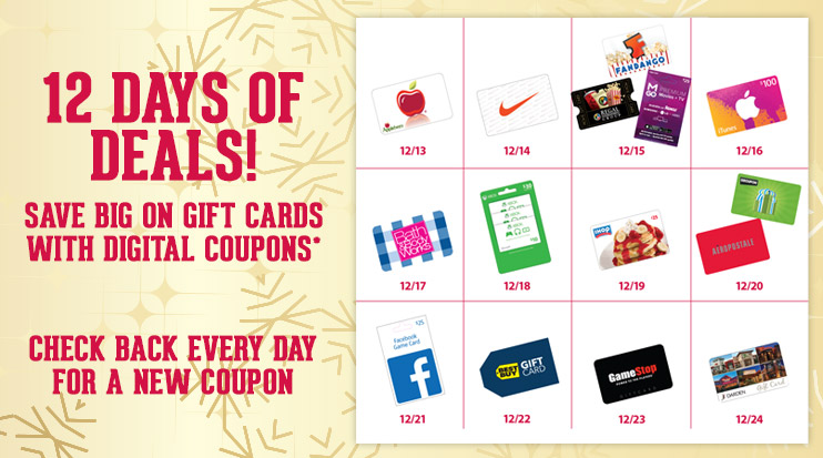 kroger amazon gift card 12 days of christmas gift card deals at kroger bargains 6444