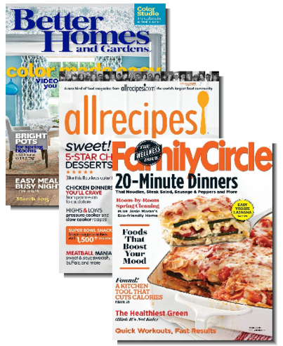 Magazine Bundle 1 Year Of Allrecipes Better Homes Gardens And Family Circle For 0