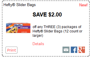 image regarding Hefty Printable Coupons called $2.00/3 Major Slider Luggage Coupon (Basically $0.32 every single at Kroger