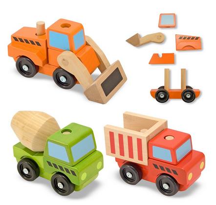 melissa & doug wooden stacking construction vehicles