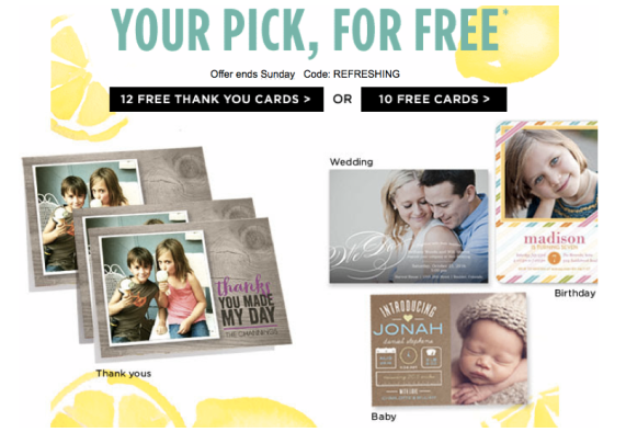 Shutterfly 12 free thank you cards or 10 greeting cards bargains shutterfly free cards m4hsunfo