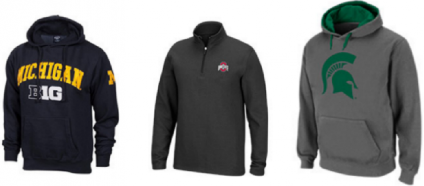 These NCAA fleece fleece and hoodies for men, women and kids are normally $40 EACH. When you mix and match them in groups of 2 to your cart, you'll see the