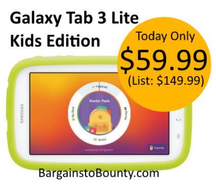 Samsung Galaxy Tab 3 Lite Kids Edition for $59 99 (list