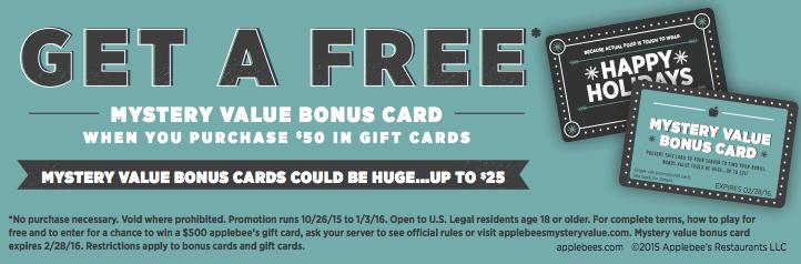applebee's mystery bonus card