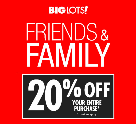 Big Lots Coupon 20 Off Your Purchase April 6 7 Bargains To Bounty