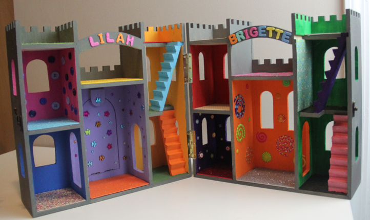 DIY wood castle dollhouse