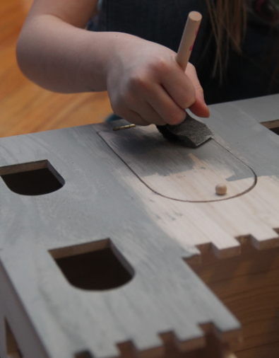 painting wood castle dollhouse