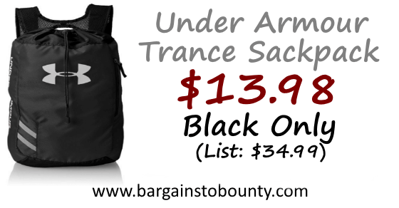 90f237edfa This  13.98 is a great price on the Under Armour Trance Sackpack. It has a  4.4 out of 5 star customer rating.