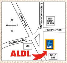 aldi lansing map