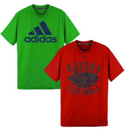 adidas climalite boys shirts red and green