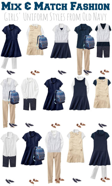 mix & match girls school uniforms old navy