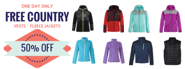 free country sale fleece vests