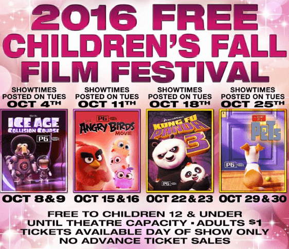 2016 MJR free children's fall film festival