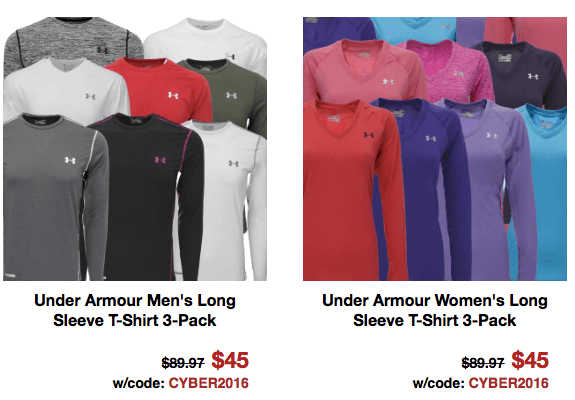 under armour long sleeve shirts men women