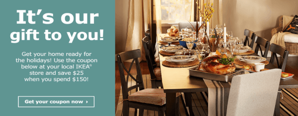 Ikea coupon save 25 off a purchase of 150 or more for Buy ikea voucher online
