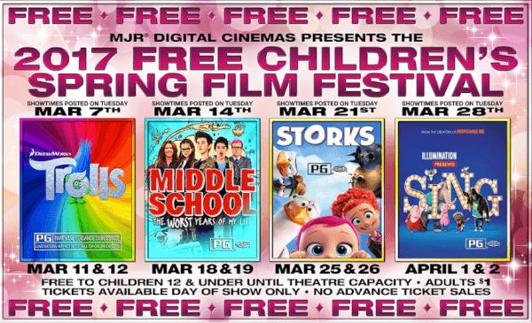 MJR free children's film festival 2017