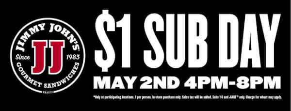 photo regarding Jimmy Johns Printable Coupons titled Jimmy Johns: $1 Sub Working day upon Could 2, 2017! Discount rates towards Bounty