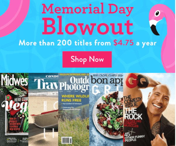 memorial day magazine sale