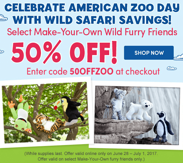 picture regarding Buildabear Coupon Printable identify Develop-A-Undergo coupon code: 50% off Zoo Buddies! Discounts towards