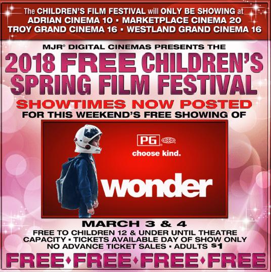 MJR free spring children's film festival