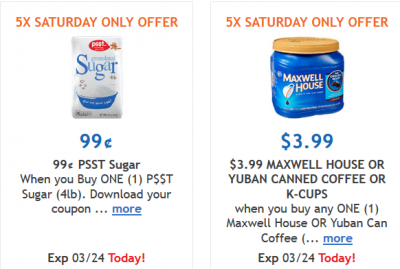graphic relating to Maxwell House Coupons Printable called Kroger Coupon codes: $0.99 Psst Sugar and $3.99 Maxwell Area or