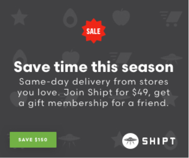 Shipt: 50% off grocery delivery membership + a free year to