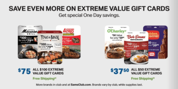 sam's club one day gift cards