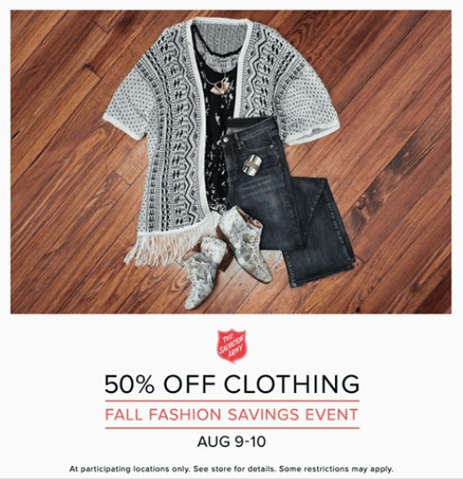 salvation army fall fashion savings event august 9 10