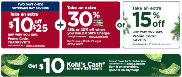kohl's coupons veterans day