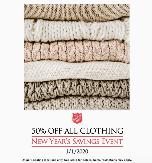 salvation army new years day sale