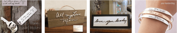 etsy handwriting gifts