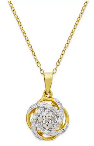 diamond love knot necklace
