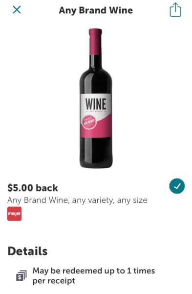 ibotta $5 cash back on any wine
